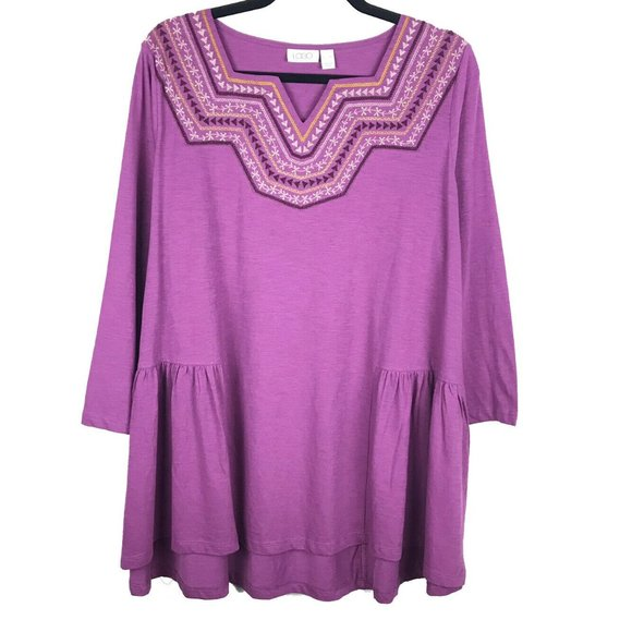 LOGO By Lori Goldstein Purple Tunic Top XL